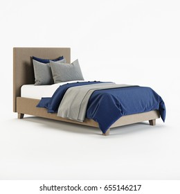 Baby bed on a white background. 3D rendering.
