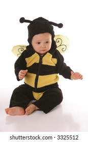 baby in bee suit sitting