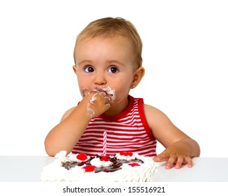 baby with birthday cake isolated on white