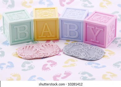 baby blocks handprint and footprint