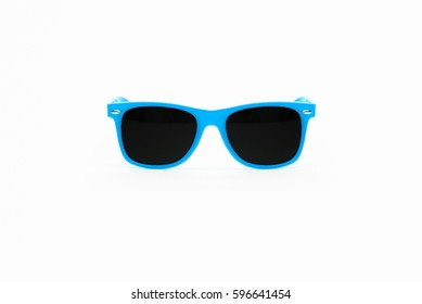 Baby Blue Plastic Sunglasses Isolated on White Background