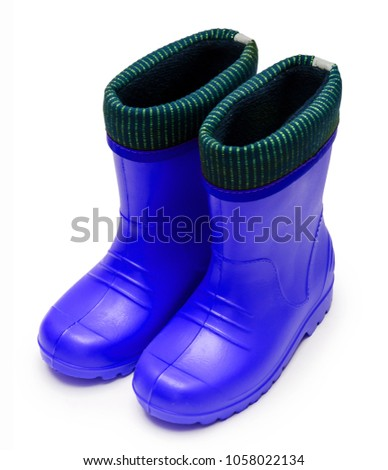 e86d13f32b Baby blue rubber boots with a cuff for a wet rainy weather isolated on a white  background - Image