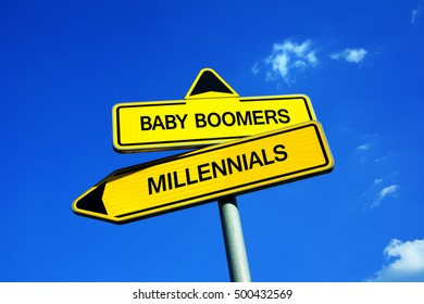 Baby Boomers vs Millennials - Traffic sign with two options - different directions as metaphor of generation gap, conflicts and clash between young and older group of society