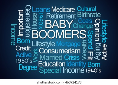 Baby Boomers Word Cloud on Blue Background