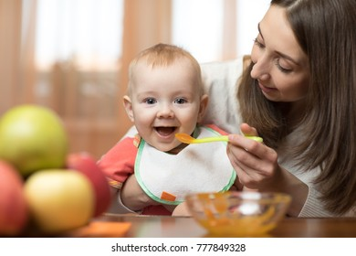 Baby bot eating healthy food with mother help at kitchen