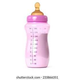 baby bottle with milk  isolated