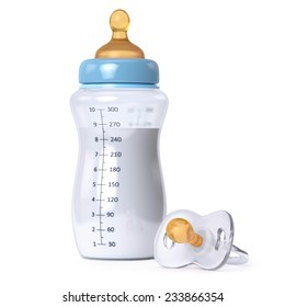 baby bottle with milk and pacifier isolated