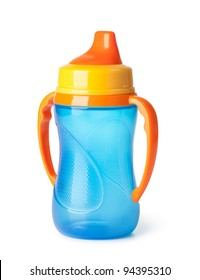 Baby bottle on a white background