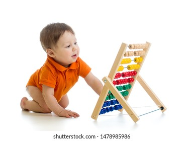 baby boy with abacus isolated on white