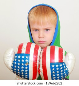 baby boy in boxing gloves with American symbols