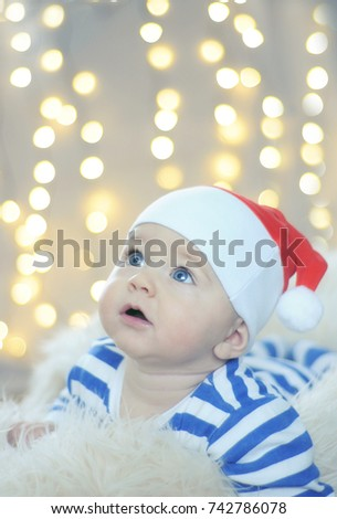 fd47cca109bc2 Baby Boy Christmas Santa Hat Stripped Stock Photo (Edit Now ...