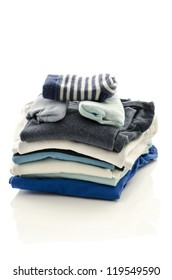 Baby boy clothes with socks isolated on a white background.