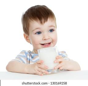 baby boy drinking yogurt or kefir isolated on white background