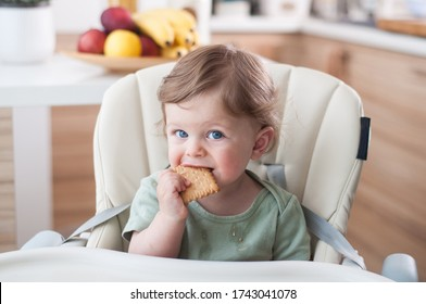 Baby boy eating a buiscuit itself