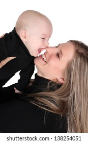 Baby boy and his mom against white background