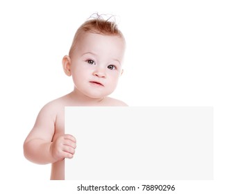 Baby boy holding a blank board