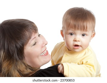 baby boy and mother, portrait on white background