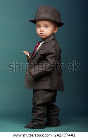 8043dca3df78 Baby Boy Oversize Suit Hat Stock Photo (Edit Now) 242977441 ...