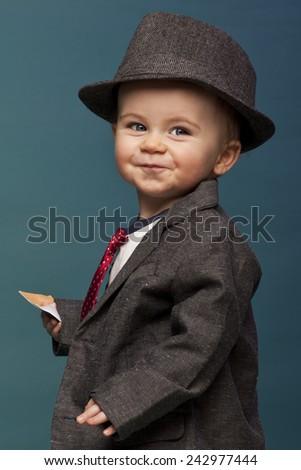 3d0799ac2abf Baby Boy Oversize Suit Hat Stock Photo (Edit Now) 242977444 ...