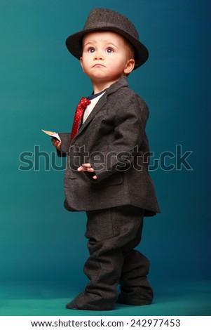 b6310397002b Baby Boy Oversize Suit Hat Stock Photo (Edit Now) 242977453 ...