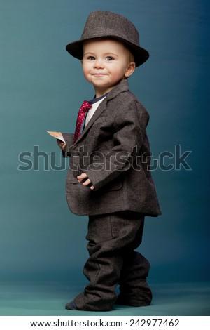 948e94140487 Baby Boy Oversize Suit Hat Stock Photo (Edit Now) 242977462 ...