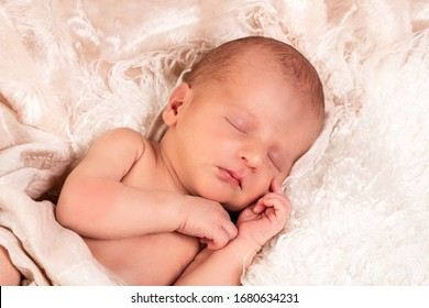 A baby boy is peacefully sleeping during his first professional photo shoot. He is dressed in white and covered with a white blanke.