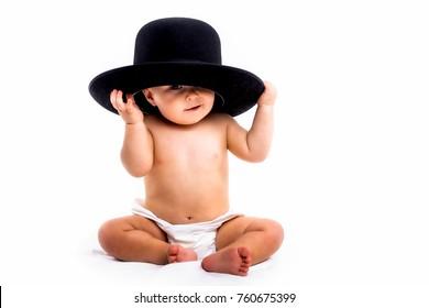 Baby boy portrait on white background
