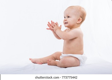 Baby boy portrait on white background