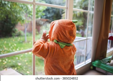Baby boy in a pumpkin costume looking through a window in Halloween