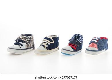 Baby boy shoes isolated on white background