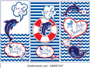 Baby boy Shower Nautical Set. Party Decoration, Scrapbook, invitation card. Funny flyers with dolphin, whale and frame on stripe white and blue  background. Raster version