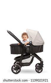 Baby boy in a stroller isolated on white background