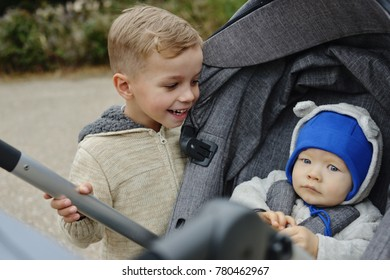 baby boy and toddler boy on the walk