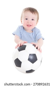 baby boy toddler with soccer ball isolated on white background