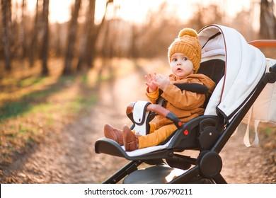 Baby boy in warm jacket and hat sitting in modern stroller on a walk in a park.