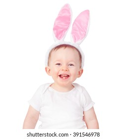 Baby boy wearing bunny ears on a white background