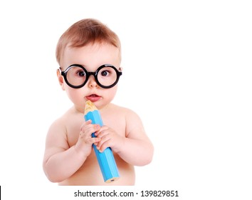 Baby boy wearing  glasses and holding big pencil in hands closeup portrait on white
