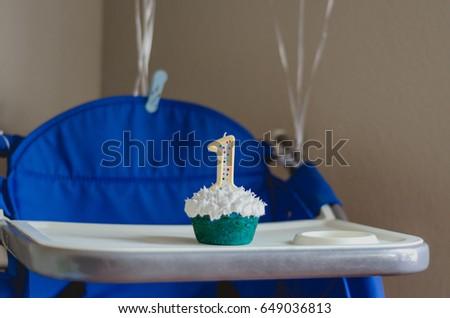 Baby Boys First Birthday Party Smash Cupcake Blue Theme