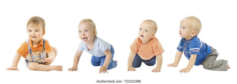 Baby Boys Group, Crawling Infant Kids, Toddler Children Isolated over White background