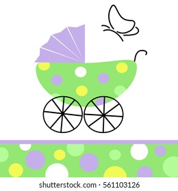 Baby carriage with butterfly