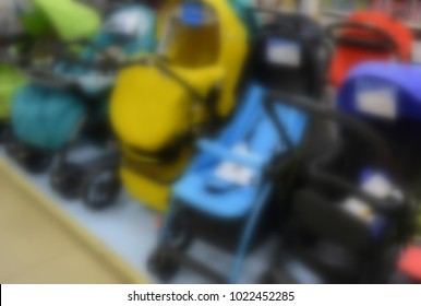baby carriages in the store, blurred background