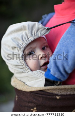 e88bdf80579 Baby Baby Carrier On His Mothers Stock Photo (Edit Now) 777711310 ...