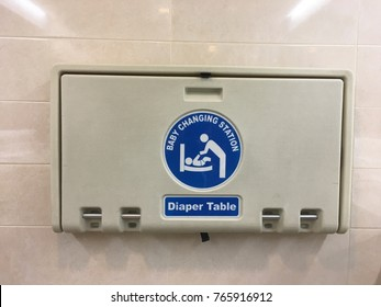 Baby changing station symbol in Public toilet.