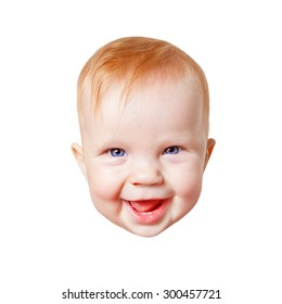 Baby Child Face Smiling Happy Isolated on White
