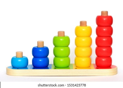 Baby or child wooden beads stacking activity