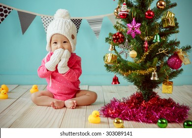Baby with christmas background in winter season, Baby healthy and winter concept