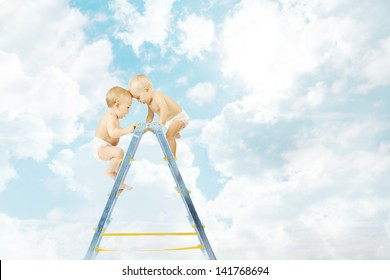 Baby climbing on stepladder and fighting  for first place over sky background. Competition concept