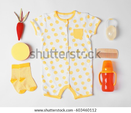 2a0543345593 Baby Clothes Accessories On White Background Stock Photo (Edit Now ...