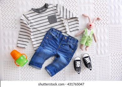f0f680d33 Baby Clothes Lying On Floor Winter Stock Photo (Edit Now) 330335492 ...