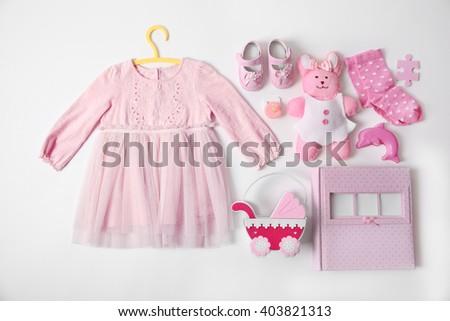 Baby Clothes Toys Photo Album On Stock Photo Edit Now 403821313